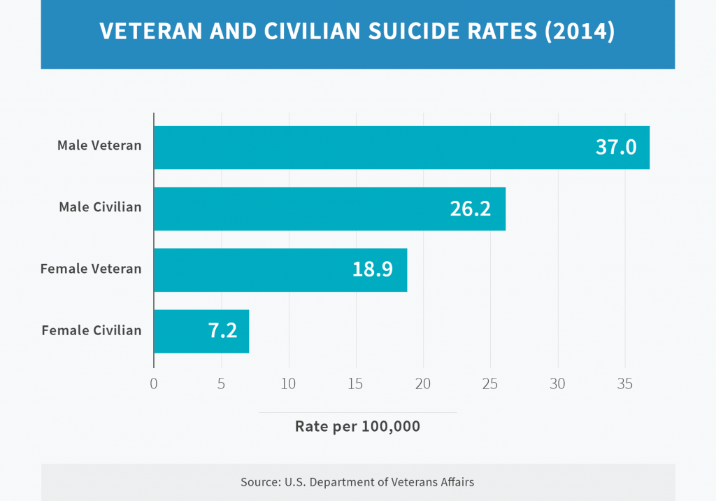 Veteran and Civilian Suicide Rates chart