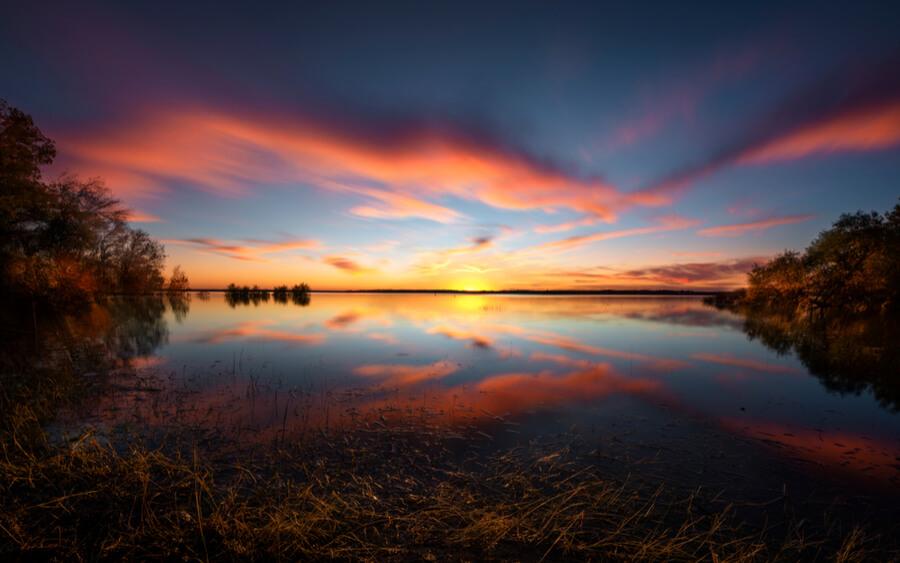 Benbrook Lake Fall Sunset in Rural Texas