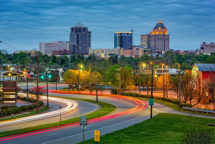 Greensboro, North Carolina, USA downtown