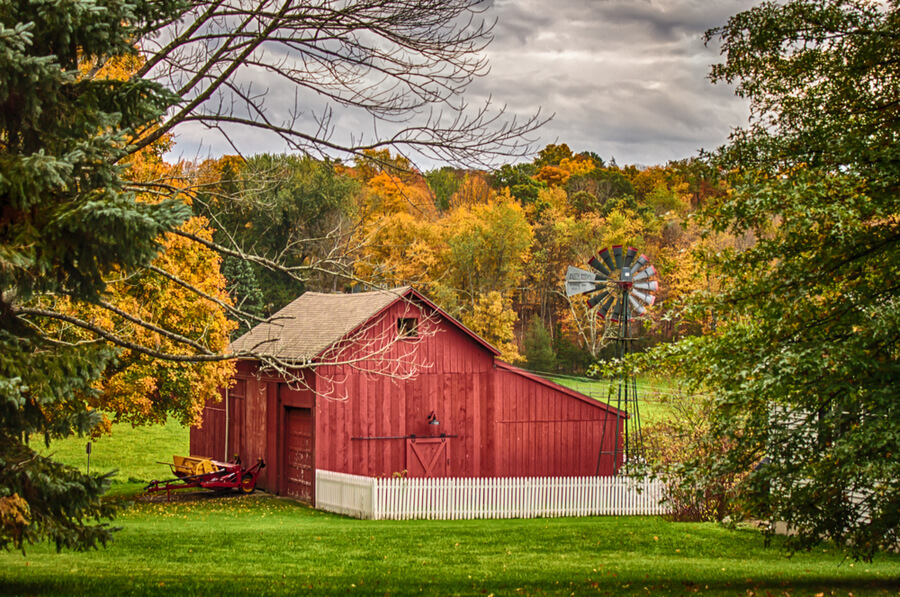 rural autumn scene with red barn