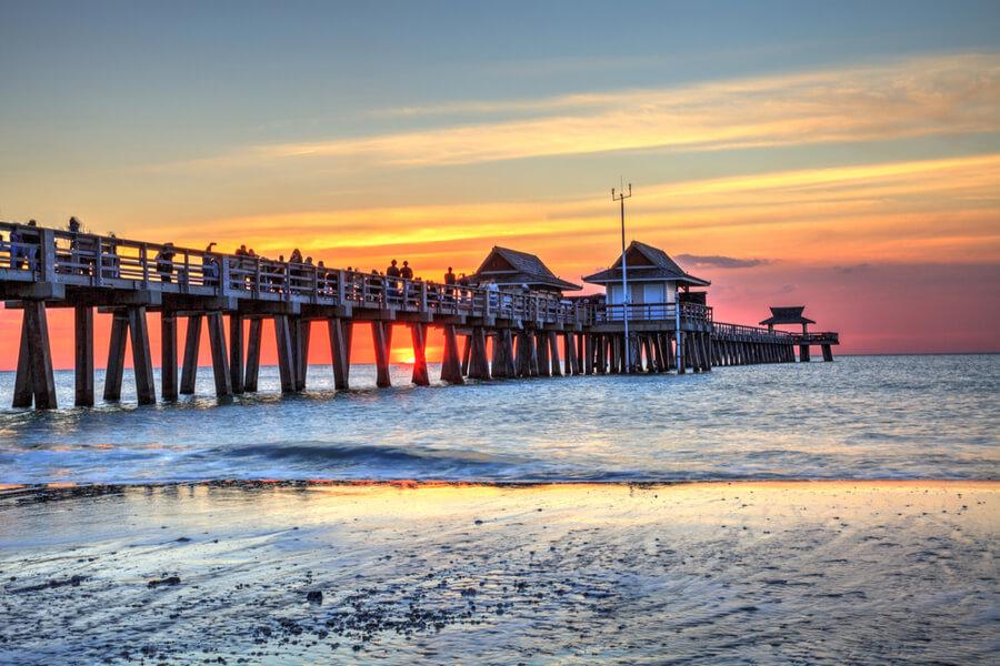 sunset in Naples, Florida, USA