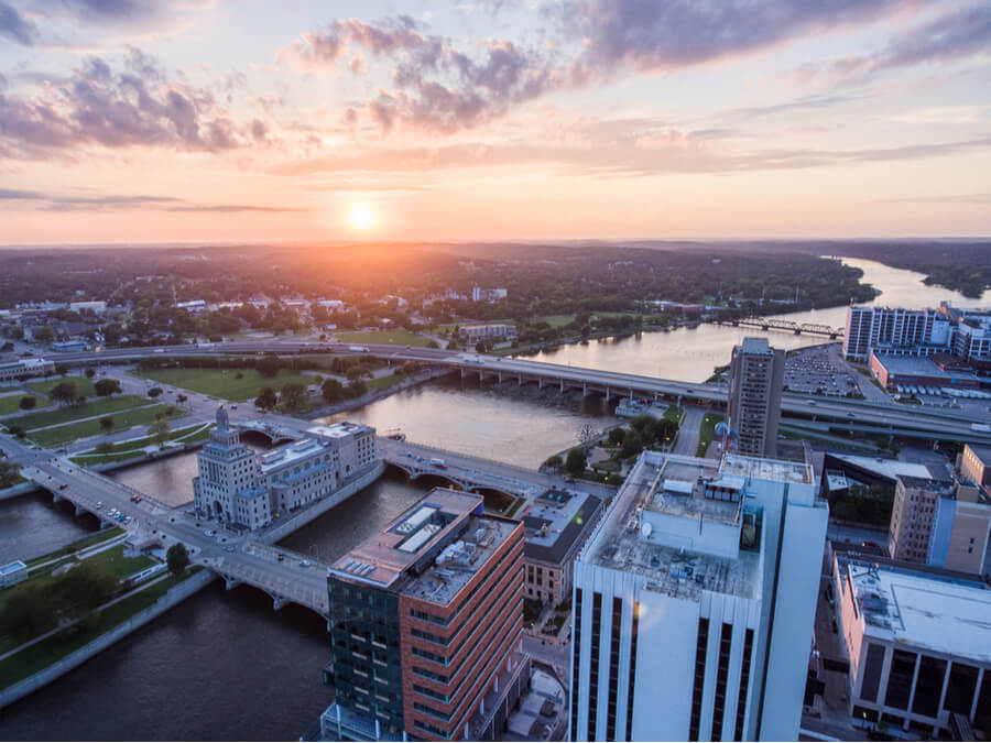 Cedar Rapids Skyline Sunset