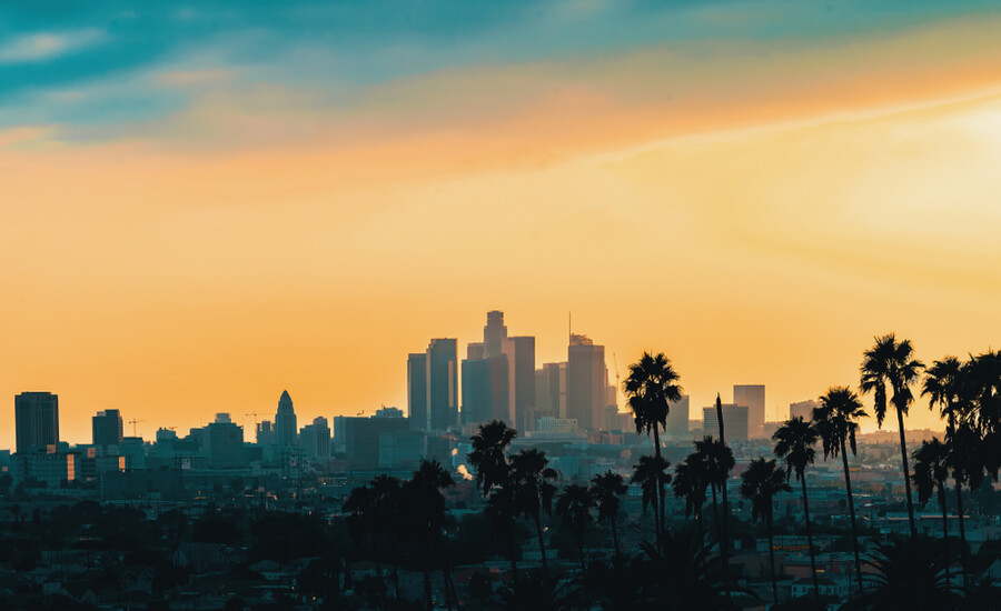 Downtown Los Angeles skyline at sunset (1)
