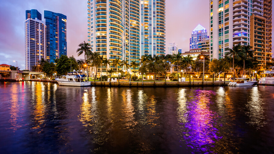 Fort Lauderdale skyline at night