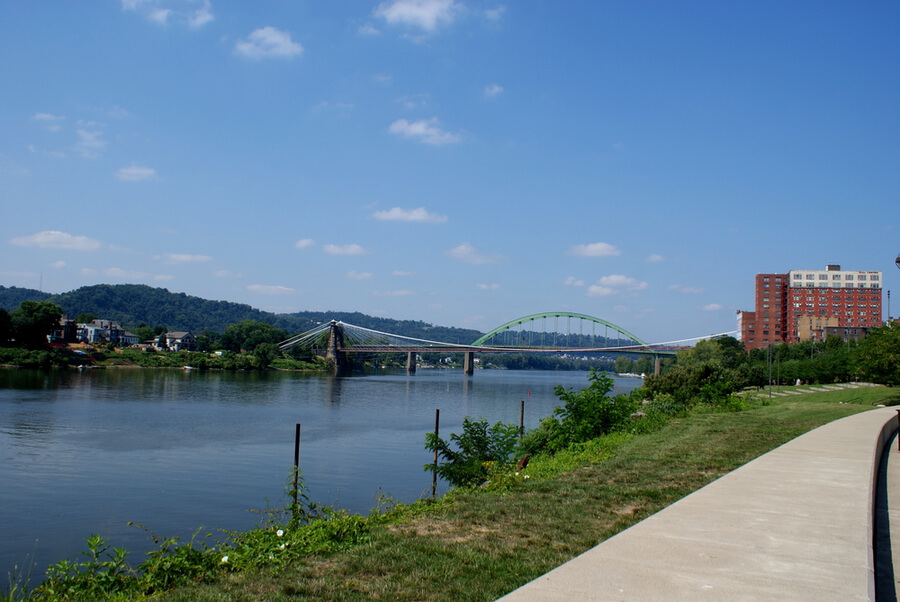 walk along the Ohio River in Wheeling, West Virginia
