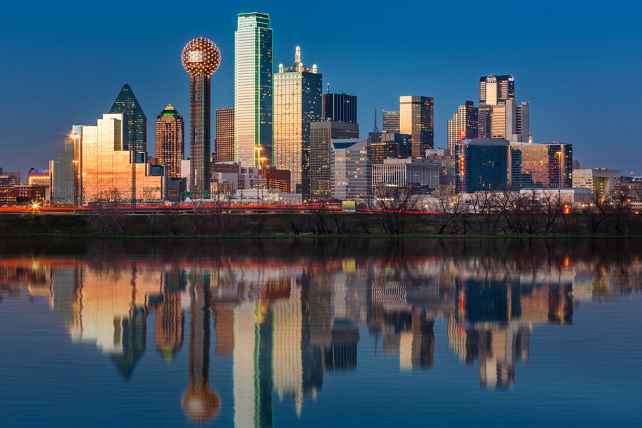 Dallas skyline reflected in Trinity River