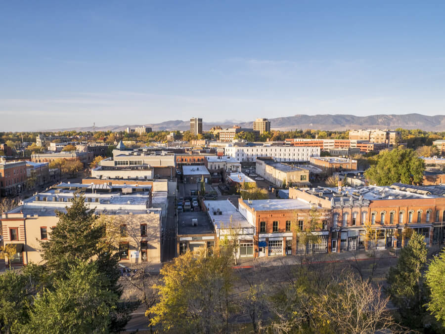 Fort Collins downtown in sunrise light